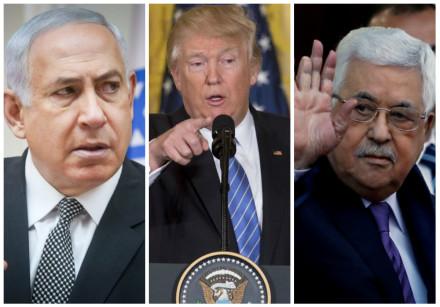 Benjamin Netanyahu (L), Donald Trump (C) and Mahmoud Abbas (R)