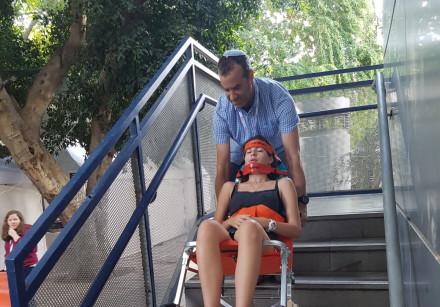 The winning stair chair design at the Magen David Adom emergency medicine hackathon in action, Septe