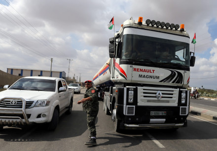 A fuel tanker bound for the Gaza power plant is seen in the central Gaza Strip October 9, 2018