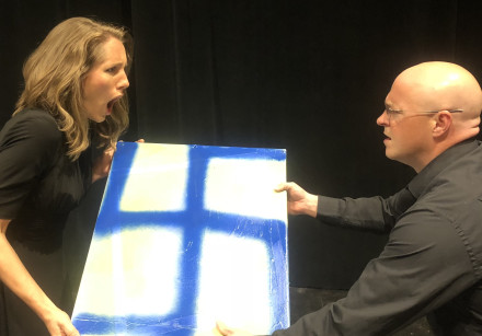 Kris Isham (right) and Anna Peterson appear in a rehearsal for the play 'Things to Do in Munich.'