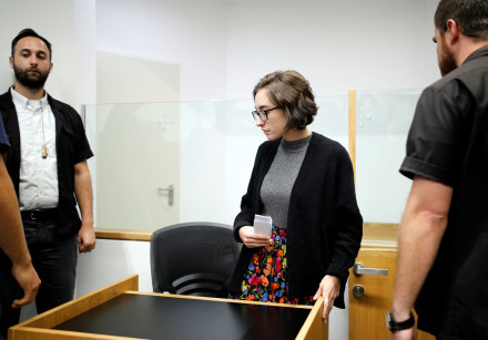 US student Lara Alqasem appears at the district court in Tel Aviv, 2018