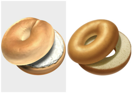 Apple's new (L) and old (R) bagel emojis, the former of which was released October, 2018