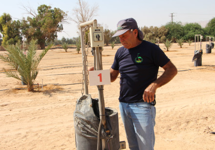 Ezra Ravins, Director of the Southern Arava R&D, with one of the installed lysimeters