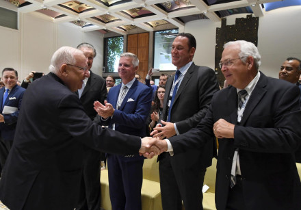 President Reuven Rivlin (L) at the Christian Media Summit, October 16, 2018
