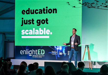 Sense Education founder and CTO Dr. Ronen Tal-Botzer gives a presentation at the South Summit confer