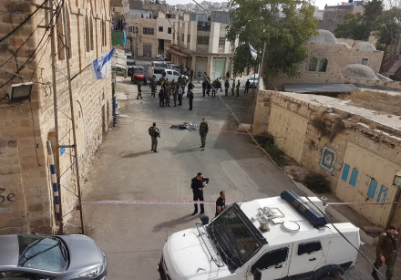 Scene of an attempted stabbing attack in Hebron on October 22, 2018