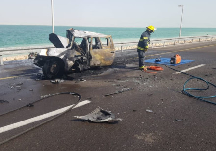 The vehicle that erupted in flames in a head-on collision in southern Israel near the Dead Sea
