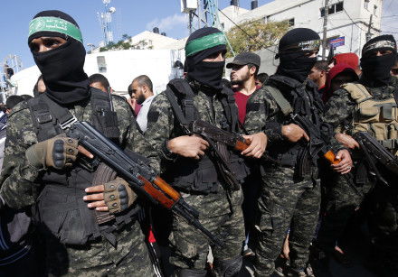 Palestinian militants of the Islamist movement Hamas' military wing Al-Qassam Brigades