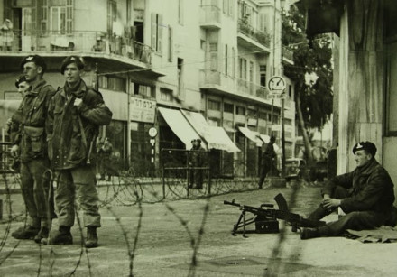 British soldiers enforcing a curfew in Tel Aviv during the 1940s (Haim Fein at the Emanuel Harussi P