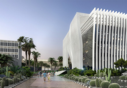 An illustration of Tel Aviv University's under construction Roman Abramovich Building for Nanoscienc