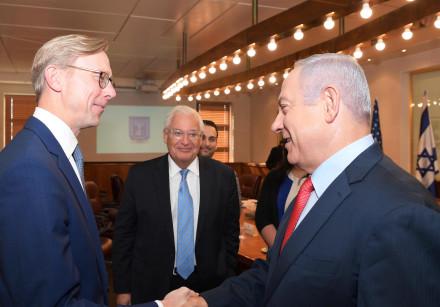 Prime Minister Benjamin Netanyahu meets with US envoy Brian Hook and US Ambassador David Friedman