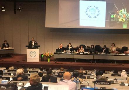 ZIONIST UNION MK Nachman Shai addressing the Inter-Parliamentary Union in October 2018
