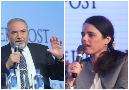 Avigdor Liberman (L) and Ayelet Shaked (R) at past Jerusalem Post conferences