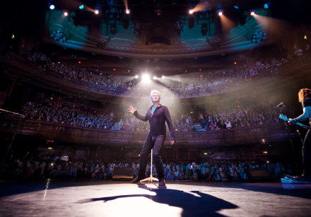 Jon Bon Jovi performing live at an album promo show in London