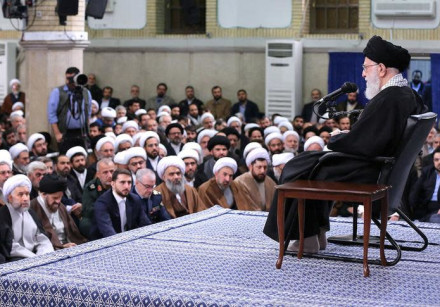 Iran's Supreme Leader Ayatollah Ali Khamenei meets with people of Qom, in Teheran, Iran.