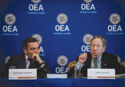 IRWIN COTLER participates in a news conference of the Organization of American States (OEA in French