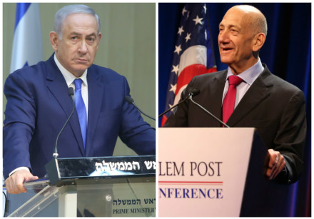 Prime Minister Benjmain Netanyahu (L) and Ehud Olmert (R)