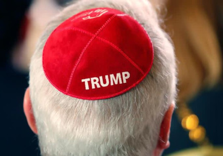 A man wears a Trump yarmulke while waiting for U.S. President Donald Trump to address the Republican Jewish Coalition 2019 Annual Leadership Meeting in Las Vegas, Nevada, U.S., April 6, 2019.