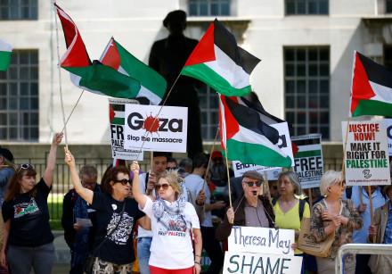 Pro-Palestinian demonstrators protest in London in June 2018