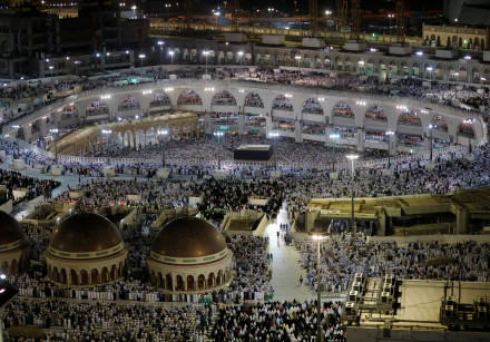 Muslims pray at the Grand Mosque during the annual Haj pilgrimage in the holy city of Mecca, Saudi A