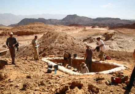 Excavations of ancient copper mines as part of Tel Aviv University's Central Timna Valley Project. C