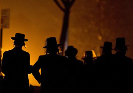 An illustrative photo of Hasidim walking in Brooklyn, New York.