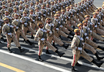 Iranian armed forces members march during the ceremony of the National Army Day parade in Tehran, Ir