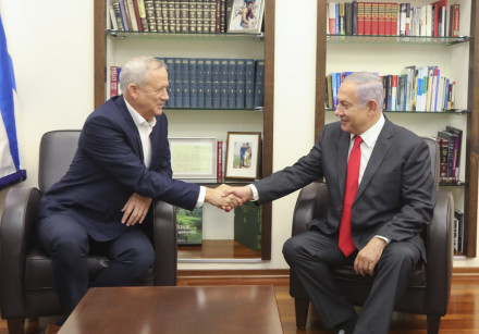 Blue and White leader Benny Gantz and Prime Minister Benjamin Netanyahu meet to discuss possible pol