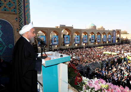 Iranian President Hassan Rouhani addresses the crowd of people in Yazd, Iran