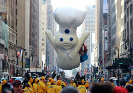 THE ICONIC Pillsbury Doughboy floats high above New York City during a recent Macy Thanksgiving Day