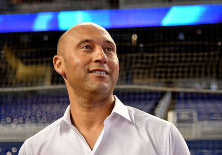 Miami Marlins chief executive officer Derek Jeter addresses the media prior to a game