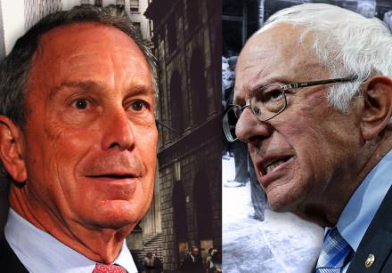 Mayor Michael Bloomberg and Sen. Bernie Sanders. Behind Bloomberg: Wall Street in the 1960s. Behind