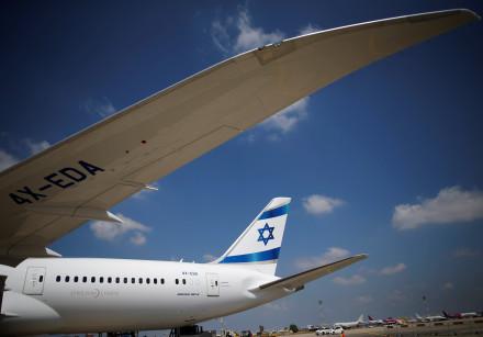 The first of Israel's El Al Airlines order of 16 Boeing 787 Dreamliner jets lands at Ben Gurion Inte