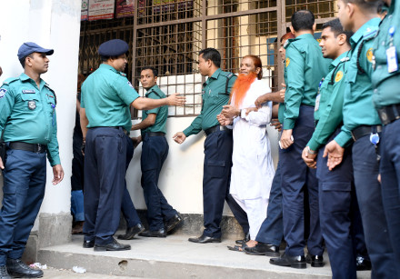 One of the accused of Holey Artisan Bakery attack is led to the court in Dhaka, Bangladesh, November