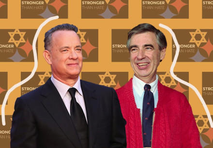 Tom Hanks, left, and Mister Rogers, whom he portrays in a film about the famed TV show host.