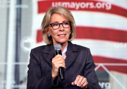 US Education Secretary Betsy DeVos speaks at a Conference in Washington