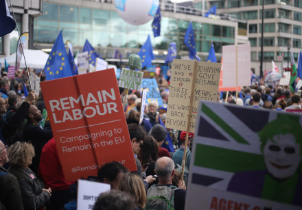 Anti-Brexit march attended by Labour Party supporters, 2019.