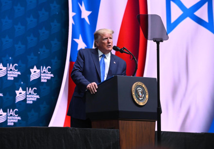 US President Donald Trump speaks at the Israeli-American Council 2019 Summit.