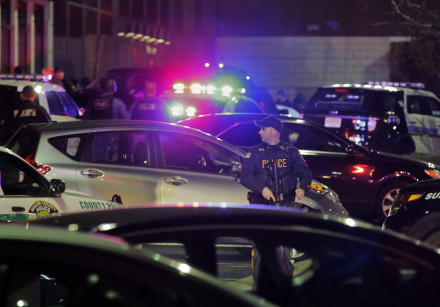 Police secure the area after reports that a gunman fired shots in New Jersey
