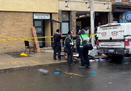 A picture of the scene the day after gun battle with two men around kosher market in Jersey City