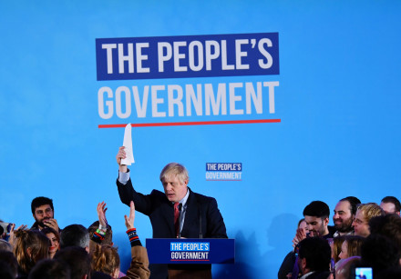 Britain's Prime Minister Boris Johnson speaks during a Conservative Party event following the result