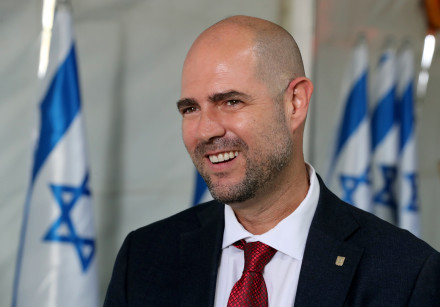 Amir Ohana at a special cabinet meeting in the Golan Heights