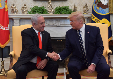 US President Donald Trump welcomes Prime Minister Benjamin Netanyahu at the White House