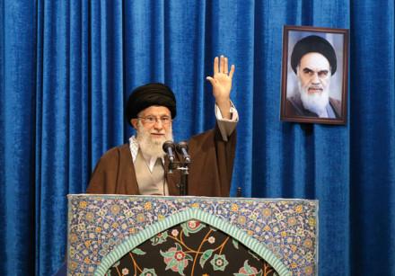 Iran's Supreme Leader Ayatollah Ali Khamenei gestures as he delivers a Friday prayer sermon in Tehra
