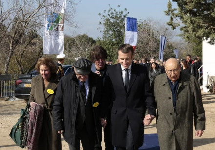 French President Emmanuel Macron visits the KKL-JNF Memorial to the Deportation of Jews from France.