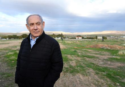 Prime Minister Benjamin Netanyahu in Mevo'ot Yericho in the Jordan Valley