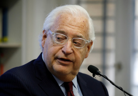 US Ambassador to Israel David Friedman looks on as he speaks during a briefing at The Jerusalem Cent