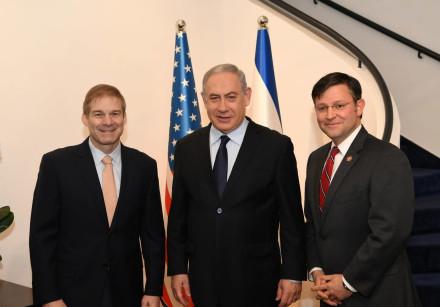 Prime Minister Benjamin Netanyahu with Republican congressmen Mike Johnson of Louisiana and Jim Jord