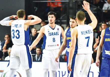 DENI AVDIJA (8) was dominant for Israel in last night's 87-63 victory over Romania, with the 19-year
