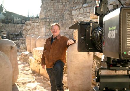 CBN CEO Gordon Robertson on the Ophel in Jerusalem's Davidson Center. Archeologist Eilat Mazar belie